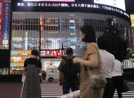 東京・新宿駅前で帰宅の途につく人たち。東京都は新たに463人の新型コロナウイルス感染者が確認されたと発表した=31日午後、東京都新宿区