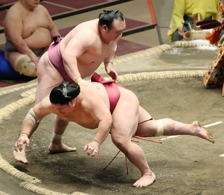 大栄翔(下)は宝富士にはたき込みで敗れる=18日、東京・両国国技館