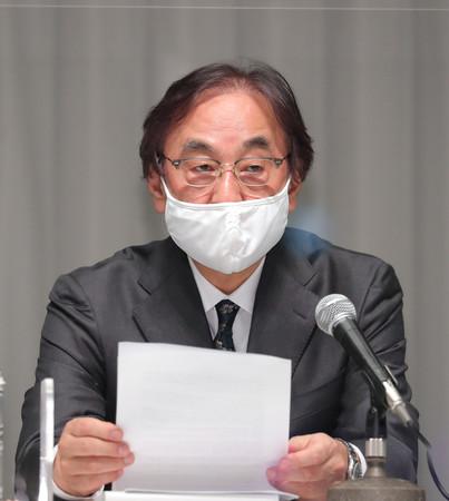 記者会見するフジ・メディア・ホールディングス(HD)の金光修社長=8日午後、東京都港区