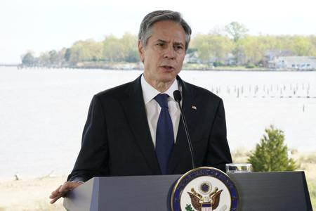 気候変動問題について演説するブリンケン米国務長官=19日、メリーランド州アナポリス(AFP時事)