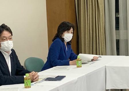 自民党会合に出席する野田聖子幹事長代行=15日午後、党本部