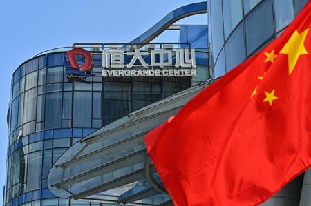 経営危機に陥っている中国不動産開発大手の中国恒大集団のビル=22日、中国・上海(AFP時事)
